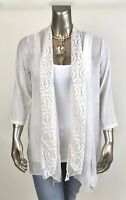 CHICO'S *NWT 2(L) BEIGE SHEER CROCHET PATCHWORK MESH OPEN FRONT JACKET $117