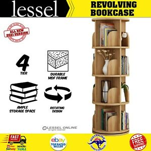 1.3m Wooden 4 Tier Rotating Revolving Book Shelf Bookcase Display Storage Stand