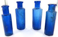 .4 ANTIQUE COBALT BLUE MEDICINE BOTTLES / 2 WERE MADE IN JAPAN
