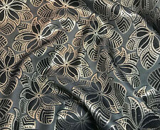 "Black & Gold METALLIC Floral Jacquard Fabric 9""x27"" remnant"