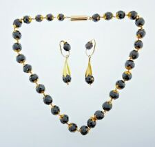VICTORIAN 14k & 18k Yellow & Rose Gold & Faceted Garnet Necklace and Earrings