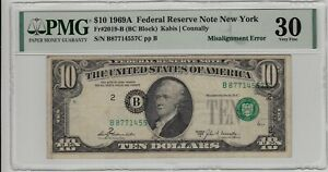 Fr 2019-B 1969A $10 Federal Reserve Note Misalignment Error PMG Very Fine 30
