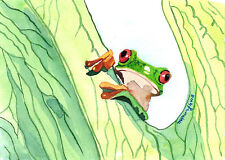 ACEO Limited Edition-Little gree frog, Art print of watercolor