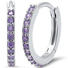 Amethyst Round Huggie Hoop .925 Sterling Silver Earrings