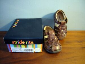 Stride Rite Boys Sz 4.5W Toddler Sandals Brown Leather Closed Toe Hiking w Box