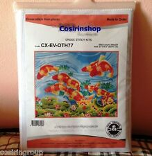 """KOI FISHES Counted Cross Stitch Kit - Size 21.5"""" x 16"""" - FREE SHIPPING"""