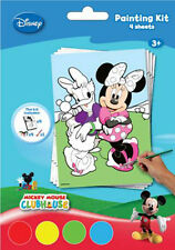 Disney Mickey Mouse Painting Kit - 4  Sheets With Paint & Brush Kids Paint Set