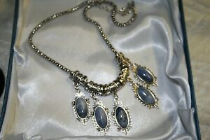 JTV Blue Lace Agate Cabochon Necklace hung on free floating spacers NEW