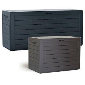 Wood Design Outdoor Storage Box Garden Patio Plastic Chest Lid Container Tool