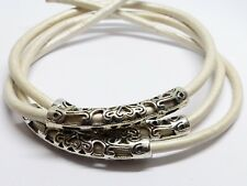 36(MM) TIBETAN STYLE CURVED TUBE HOLLOW BEADS - ANTIQUE SILVER - HOLE: 3 - TB013