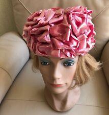1950s cocktail hat wedding pink raffia ribbon one size Swiss Switzerland vintage