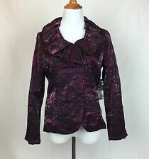 SAMUEL DONG $375 NWT Wired Collar Lightweight Embroidery Jacket Signature Rose S