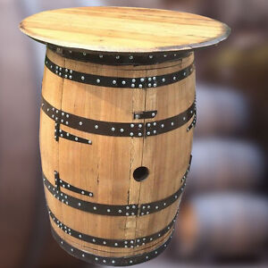"Solid Oak Whisky Keg ""Brodie Balmoral"" Wine Rack Table Drinks Cabinet + 4 Stools"