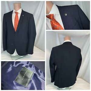 NWT Mens Zara Man Tuxedo Collar 100/% Linen Dark Blue Sportcoat Blazer 40 R