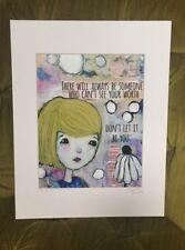 Dear Jane art print 8x10 mixed media matted Girl w flower bedrom decor Sara Jane