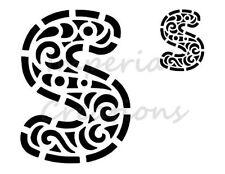 """S"" Fancy Capital Letter Alphabet ABCs 8.5"" x 11"" Stencil Plastic Sheet NEW S72"