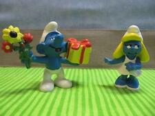 "Flowers Gift Present Smurfette Date SMURF SCHTROUMPF PUFFI  2"" pvc cake topper"