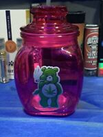 Pink Care Bears Glass Stash Jar Apothecary Prescript Weed Smell Proof-Medical