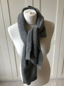 Margaret Howell Soft Grey Ribbed Scarf