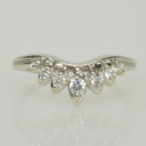 Ladies 14k White Gold Curved Contoured Cubic Zirconia Enhancer Wedding Band Ring