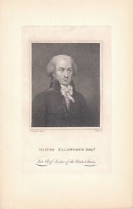 OLIVER ELLSWORTH 3rd Chief Justice of the Supreme Court memorial engraving 1807