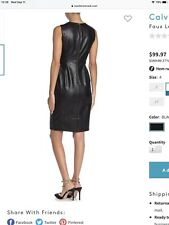 Calvin Klein Faux Leather All Over Sheath Dress Gold Zip Sz 8 Black NWT $159 New
