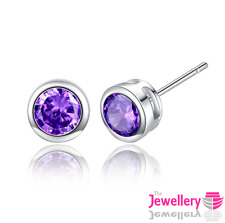 925 Sterling Silver Stud Enclosed Round Purple Crystal Earrings Jewellery Womens