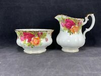 Royal Albert England Old Country Roses Open Sugar Bowl & Creamer