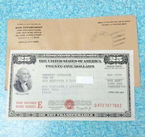 USA WAR SAVINGS BOND E 25 Dollar March 1944 Uncancelled WWII Army