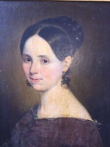 Portrait jeune femme - Huile sur toile XIXème Époque Restauration - French oil