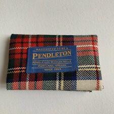 Vintage Pendleton Sewing Kit Wallet Wool Red Plaid Travel