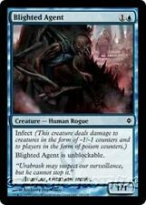 BLIGHTED AGENT New Phyrexia MTG Blue Creature — Human Rogue Com