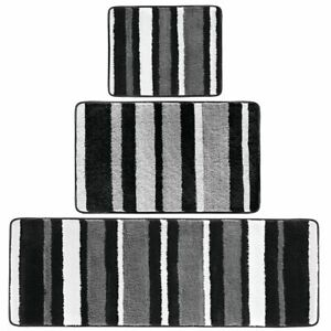 mDesign Striped Microfiber Bathroom Spa Mat Rugs/Runner, Set of 3 - Black/Gray