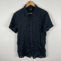 Lucid Mens Linen Button Up Shirt Large Slim Black Tropical Short Sleeve Collared