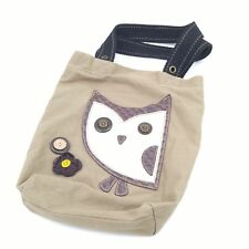 Chala Handbag Simple Tote Hoohoo Owl Brown Canvas Purse Bag