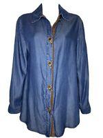Soft Surroundings Blue Chambray Denim Shirt Blouse Long Sleeve Tunic Top Sz XS