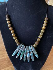 Tiger's Eye Beads With Painted Topaz Necklace For Women