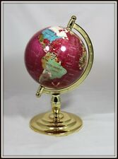 """Hand Crafted Semi-Precious World Globe w Brass Stand"" (16"" H x 8.5"" W)  AWESOME"