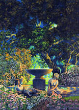 Ladies in Dark Garden after Maxfield Parrish