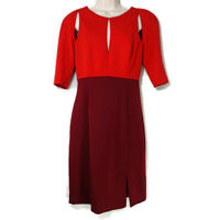 Black Halo Anthony Eddie Dress Cocktail Women Size 6 Red ColorBlock Short Sleeve