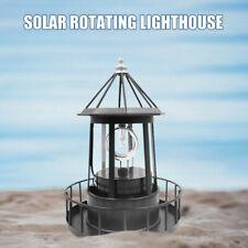 Solar Powered LED Rotating Lighthouse Light Garden Lawn Lamp Outdoor Yard Decor