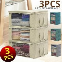 3PCS Home Space Saver Closet Storage Bags Wardrobe Clothes Container Bag Quilt