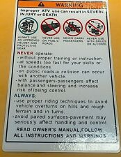 NEW ATV  UTV Warning Sticker  513604