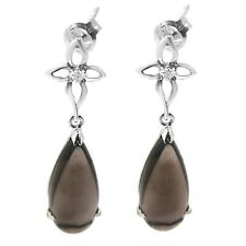 De Buman 10K White Gold 4.3ctw Genuine Smoky quartz & Diamond Dangle Earrings