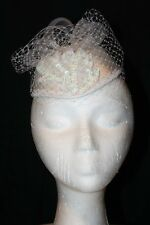 Women's White Satin Pillbox Dress Hat with Veil and Floral Design