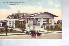 LONG BEACH CA 1907-14 Residential View of a Cozy Bungalow in Winter + Old Car