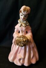 Vintage China Lady Planter Pink Dress Spaghetti Accents Japan