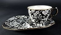 Royal Winton Grimwades Peony Teacup w/ Snack Plate Black & White Rare 1951 + Old