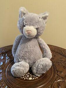 "Jellycat Gray Bashful Kitten Cat 11"" Plush"