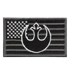 american USA flag starwars rebel alliance subdued ACU embroidered hook patch